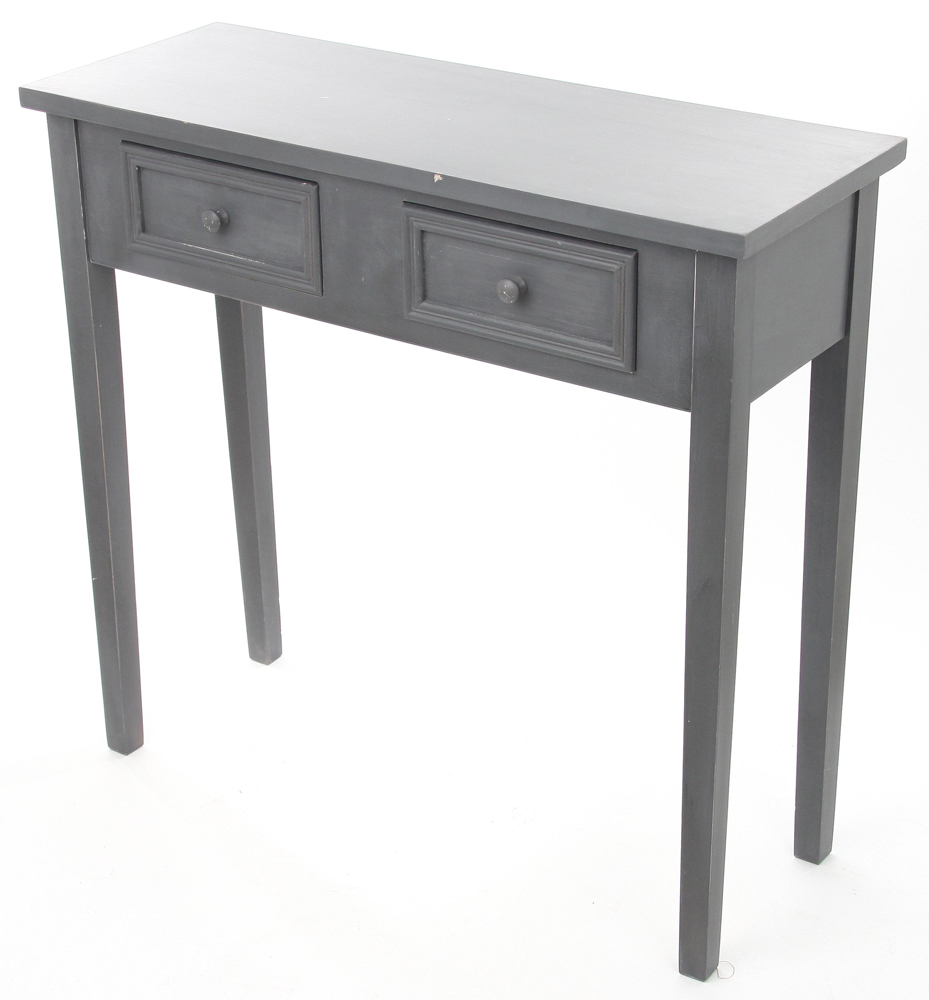 console 2 tiroirs gris felix longueur 80 x largeur 30 x hauteur 76 cm ebay. Black Bedroom Furniture Sets. Home Design Ideas