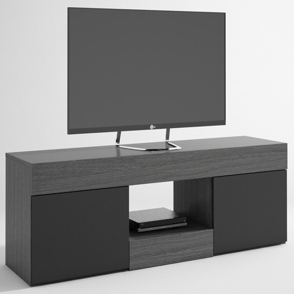 meuble tv nylon avec 2 portes en cendre et noir dim l1500 x h484 x p399 mm ebay. Black Bedroom Furniture Sets. Home Design Ideas