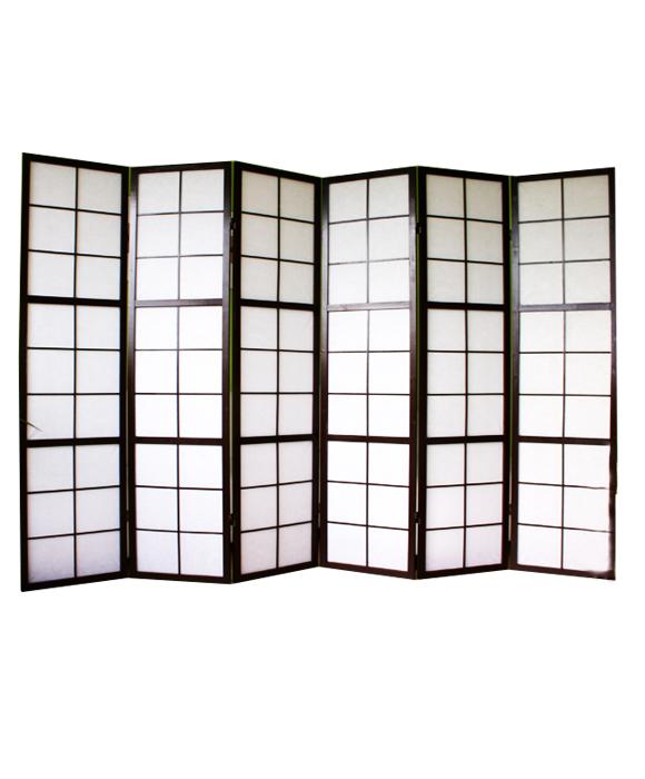 paravent japonais shoji en bois noir de 6 pans dimensions 175 x 264 cm ebay. Black Bedroom Furniture Sets. Home Design Ideas
