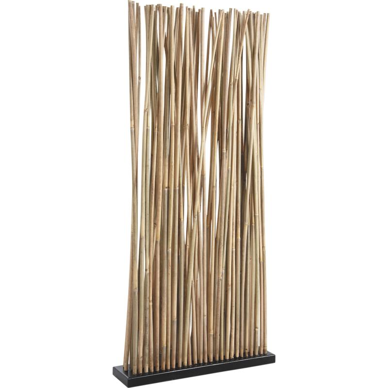 Paravent avec socle en bois 34 tiges de bambou for Deco zen pas cher