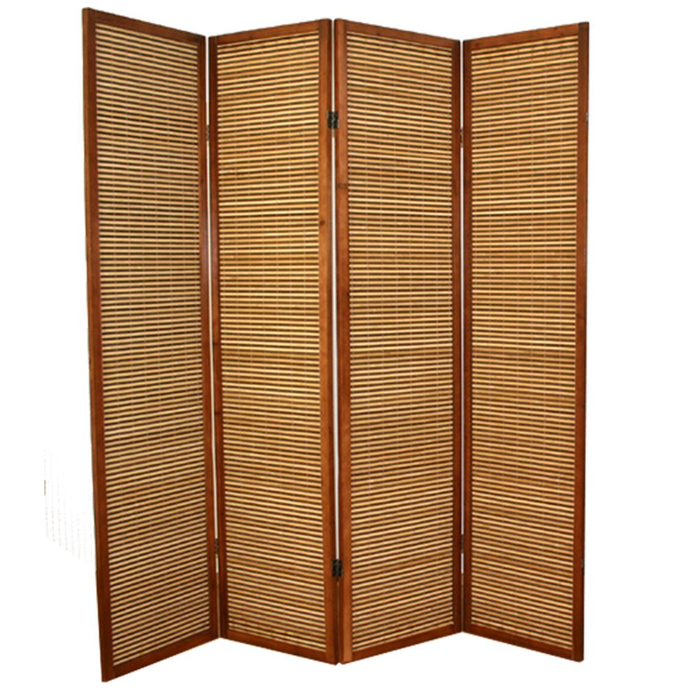 paravent en bois brun avec bambou de 4 pans dimensions 175 x 175 cm ebay. Black Bedroom Furniture Sets. Home Design Ideas