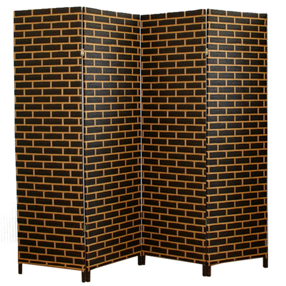 paravent japonais en bois et osier noir beige de 4 pans dim 180 x 200 cm ebay. Black Bedroom Furniture Sets. Home Design Ideas
