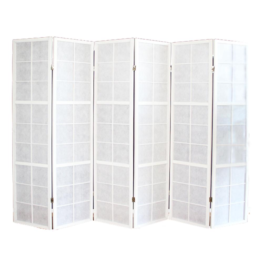 paravent japonais shoji en bois blanc de 6 pans dimensions 175 x 264 cm ebay. Black Bedroom Furniture Sets. Home Design Ideas