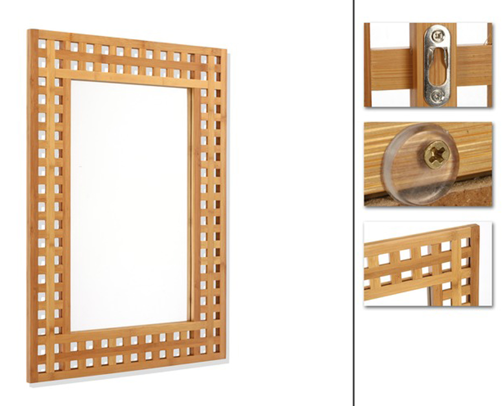 Miroir salle de bain en bambou h70 x p2 x l50 cm - Miroir salle de bain bambou ...