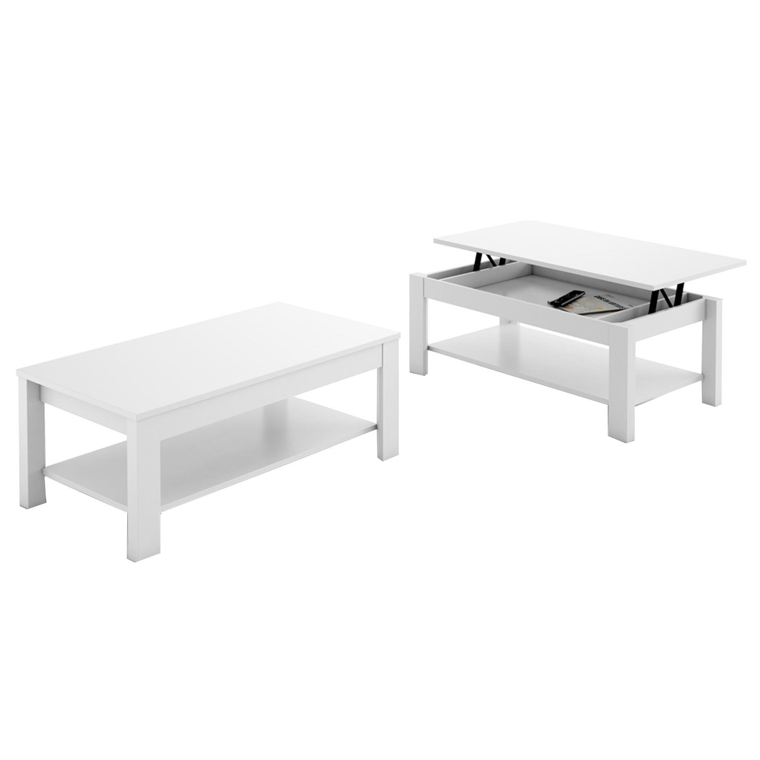 Table basse relevable oralia couleur blanc dim l 110 x p - Mecanisme table basse relevable ...