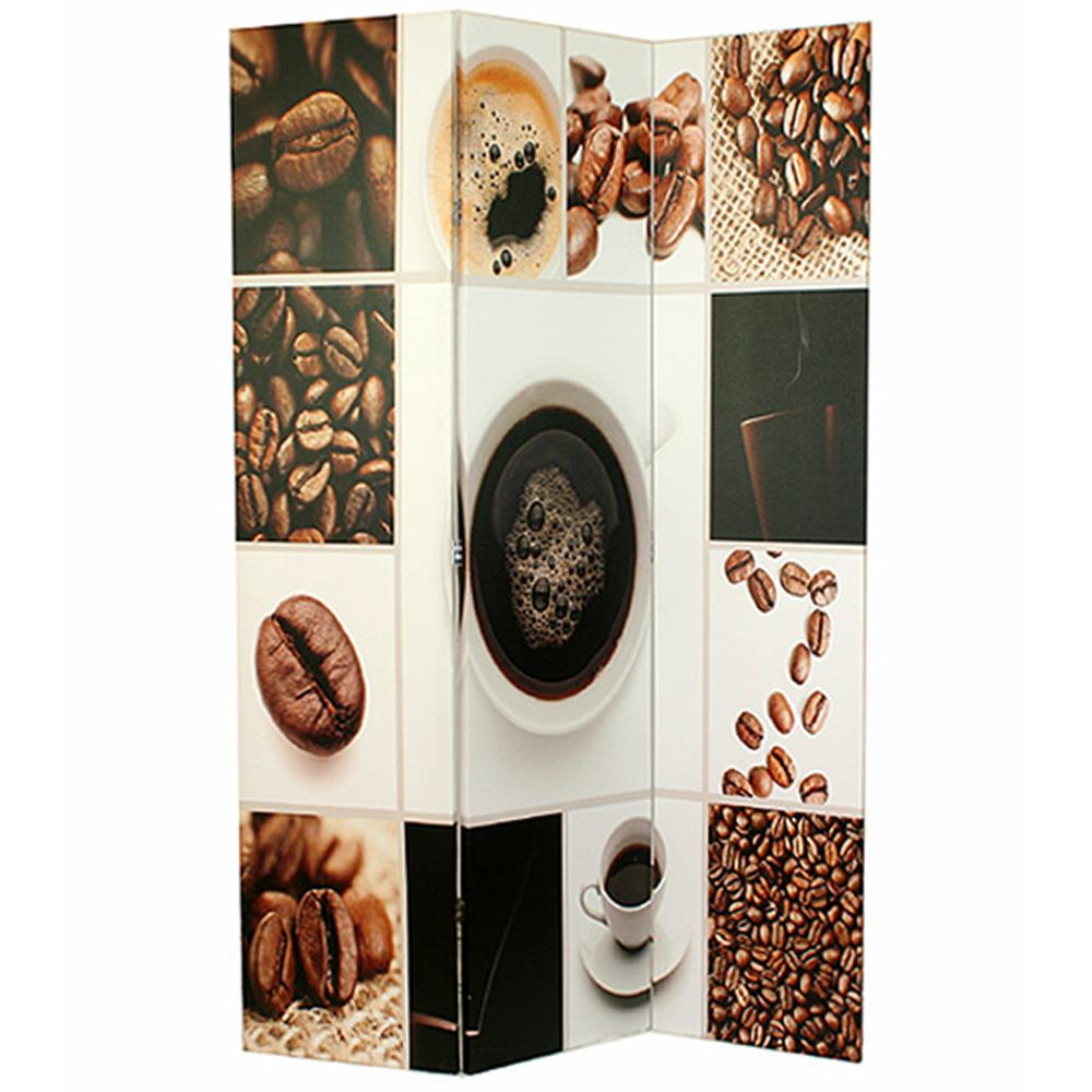 Paravent en toile avec motif coffee de 3 pans dimensions 180 x 120 cm ebay - Paravent hauteur 120 ...