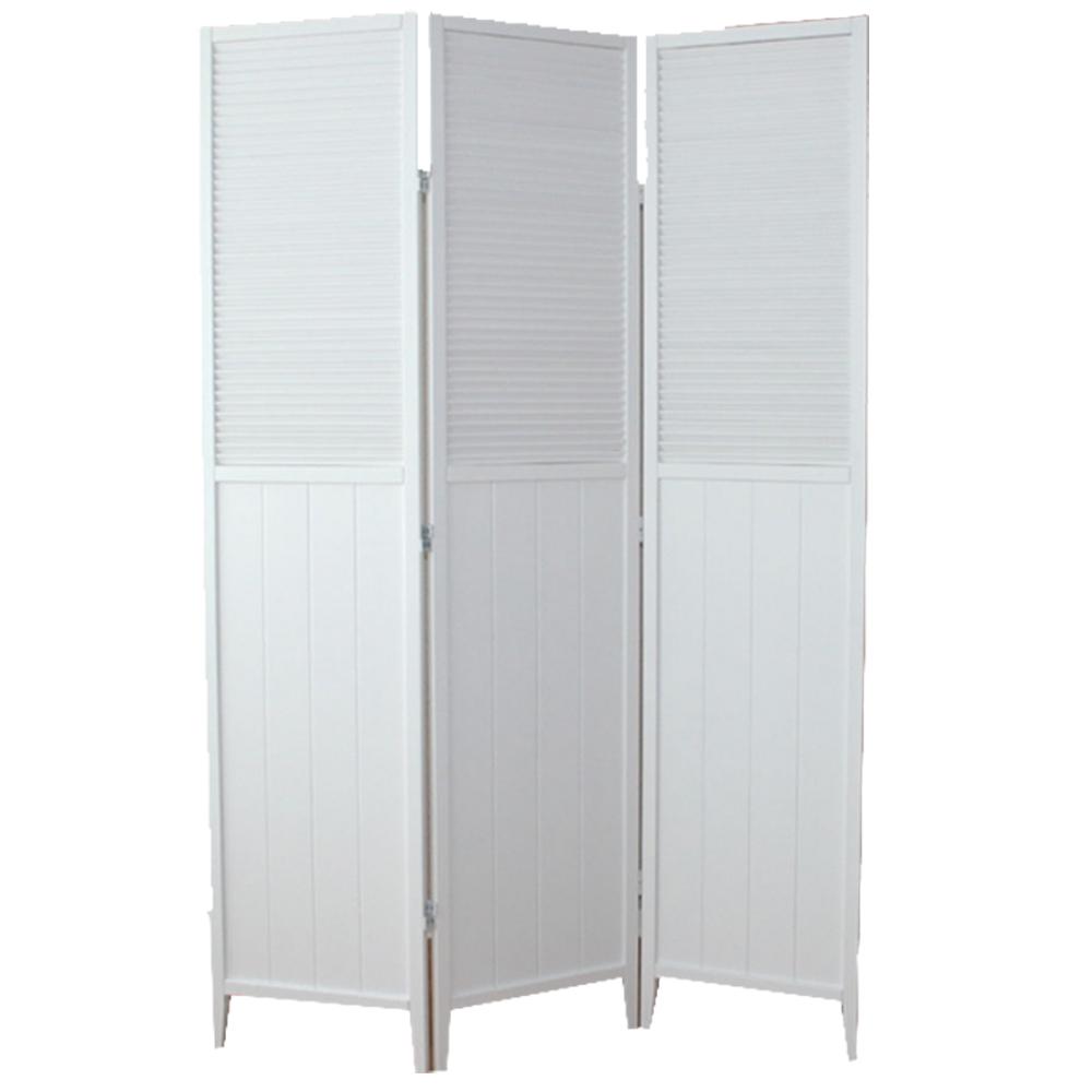 paravent en bois blanc cran de 3 pans dimensions 178 5. Black Bedroom Furniture Sets. Home Design Ideas