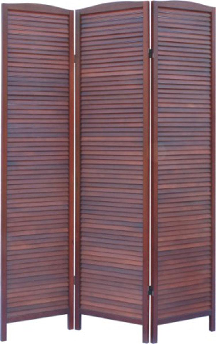 paravent en bois persiennes marron avec pieds de 3 pans ebay. Black Bedroom Furniture Sets. Home Design Ideas